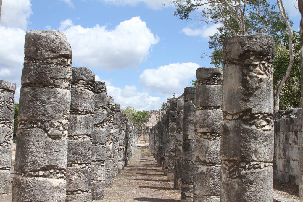 columns on either side at Chichen Itza site