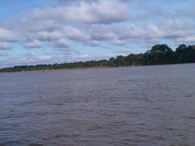 View of the river from the boat into the Amazon Jungle