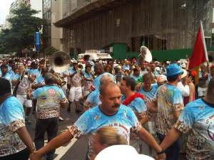 Samba bands lead the street parties